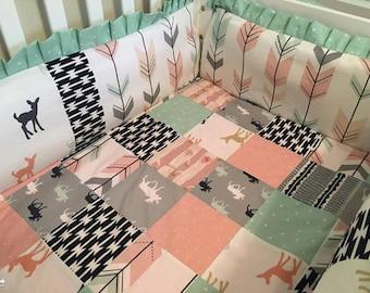 Custom baby bedding, Baby girl bedding, pink arrow bedding, pink arrow crib set, deer arrow bedding, arrow quilt blanket