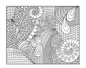 Zentangle Inspired Coloring Page, Printable PDF Zendoodle Pattern, Page 14 - Instant Download