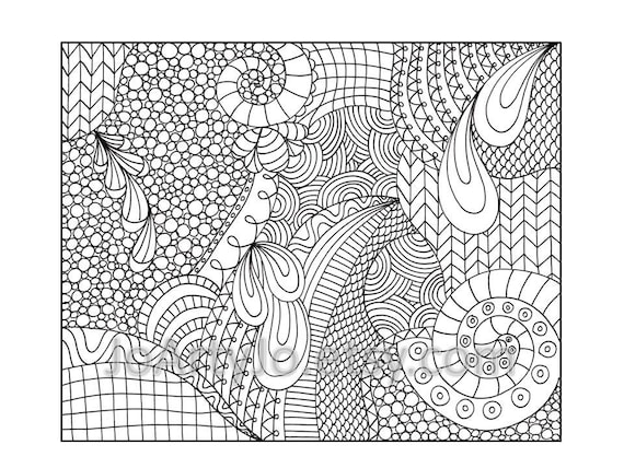 coloring pages patterns | Zentangle Inspired Coloring Page Printable PDF Zendoodle