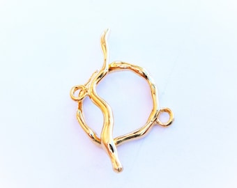 Vermeil, 18k gold over 925 sterling silver branch toggle clasp, shiny gold branch toggle, vermeil toggle, clasp finding