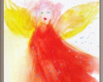 Winged, angel, golden wings. watercolor on paper, original art