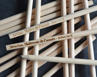 Custom Wooden engraved pencil for teachers - Personalized Wooden pencil - Wedding favors - Custom Gift - Teachers Gift - Custom pencil