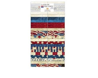 """Northcott Fabric Land of Free Patriotic Flag Blender 40 2.5"""" Jelly Roll Strips"""