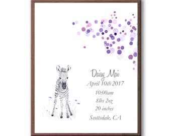 Baby Girl Personalized Birth Stat Gift In Purples, Watercolor Baby Zebra Art Gift For Baby, Gift for Granddaughter, Z1006