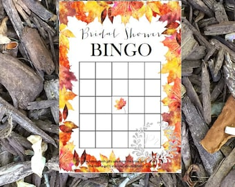 Bridal shower bingo, Wedding shower game, bridal shower game, shower game, October, Fall Maple leaves, Fall wedding, INSTANT DOWNLOAD