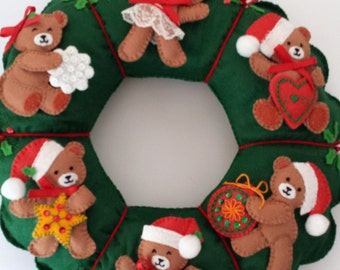 Christmas Wreath - Handmade Embroidery and Applique - Decorative Sequins and Beading - Holiday Teddy Bears