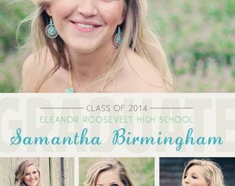 Senior Graduation Announcement - class of 2016, digital, photo collage, cute, graduate, modern, class of 2014, turquoise