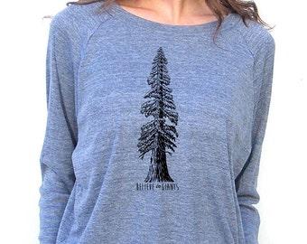 Womens Long Sleeve Sweatshirt - Redwood Tree Design - American Apparel Raglan Pullover - Small, Medium, Large