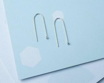 ON SALE Arc Earrings - Silver Arc Earrings - Minimalist Line Earrings - Horseshoe Earrings - Arc Earrings - Line Earrings