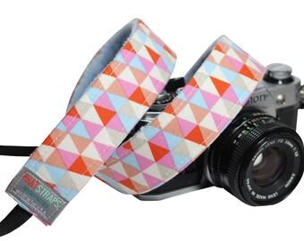 DSLR Camera straps- Tribal Camera strap - Triangle Multi with Baby blue Minky
