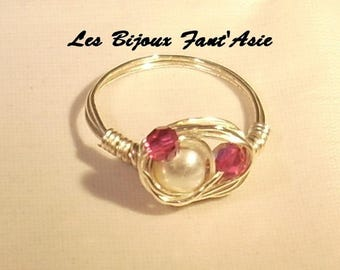 Ring wire wrapped in silver plated wire and Swarovski Crystal White Pearl beads