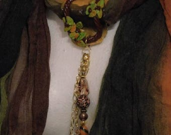 "Scarves Earthtone crinkle scarf with clay pendant ""Simply"" Focal"""