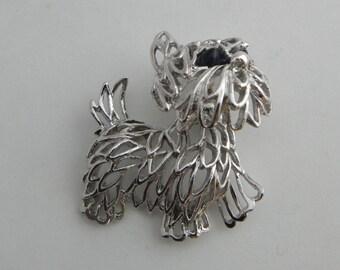 Silver Tone, Tremble Terrier, Park Lane, Dog Brooch, Bobble Head Dog Pin, Scottie, Yorkie, Maltese Dog,