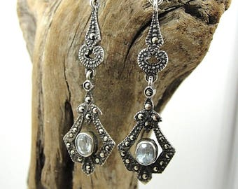 Vintage Sterling Silver and Topaz Dangle Earrings