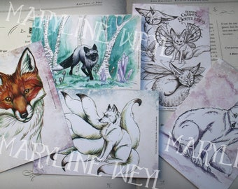 Set of 5 cards postcards foxes