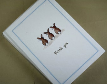 Thank You Note Bunny Rabbit Tails, Set of 8. Pale Blue Border. Handmade Notecards Greeting Cards Packaged