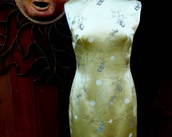 Vintage 1950's Cheongsam Dress, Vintage Gold Chinese dress, Asian, Form Fitting, Ethnic