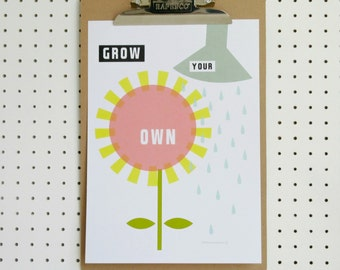 SALE Flower Print Grow Your Own A4 Graphic Floral Pink Yellow Grey Green  Art