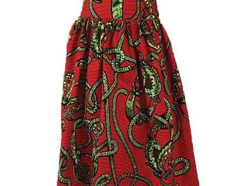 Pleaded Skirt, African Print
