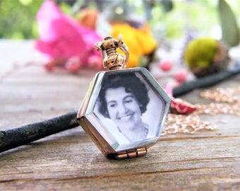 octagon glass locket rose gold 14 karat gold fill heirloom keepsake remembrance necklace