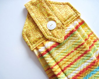 Hanging kitchen towel  button top bright sunny yellow southwest  towel  cotton top