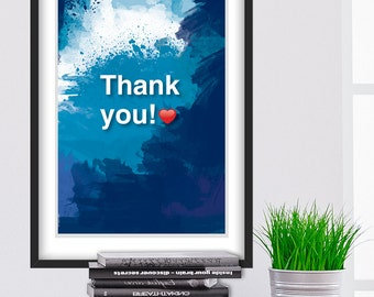 A3. Thank you. Ho'oponopono healing Sentence poster. Meditation quote poster. Typography poster. Wall decor. Home decor. Gift (Po-A3-064)