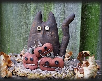 Primitive Halloween,  Black Cat and Pumpkins Doll E-PATTERN, Halloween Pattern, Fall Decor