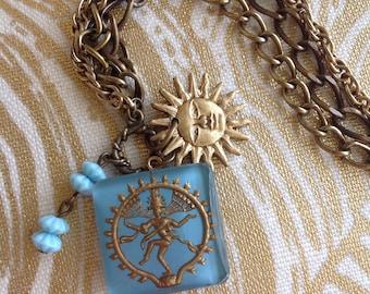 Vintage shiva intaglio triple chain bracelet