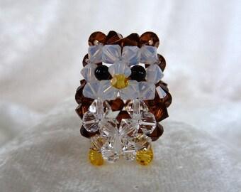 Crystal Owl, Japanese Beadweave with Swarovski Bicone Beads