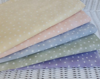 "Polka Dot Fabric in Pastel Shades, Fat Quarters, Blenders, ""Red Roses"" by Laura Heine Kings Rd, 100% cotton, quilting fabric, BTY BTHY BTFQ"