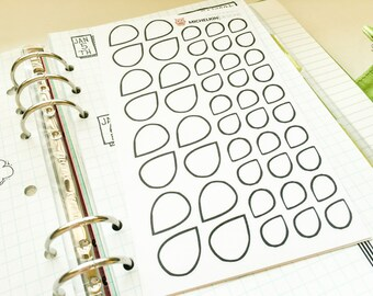 Tear Drop Stickers (2 sizes) for Planners and Journals