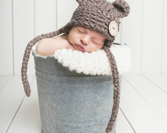 Crochet Newborn Baby Bear Hat, Photography Prop