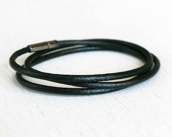 Plain Leather Bracelet, Double Wrap Leather Bracelet, Triple Wrap Leather Bracelet