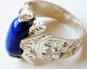 Lapis Lazuli Ring in Sterling Silver from Peshawar, Vintage-Size 9-11
