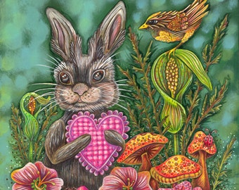 """Hope On Wings - an 8 x 10"""" ART PRINT of a sweet whimisical rabbits and his bird friend celebrating love, spring, summer, joy and nature"""