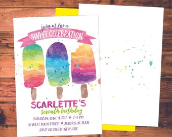 Birthday Party Invitation - Watercolor Popsicles