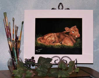 Baby Calf Art Print, Farm Animals Art Print signed 8in x 10in