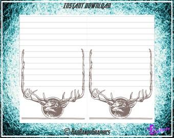 Deer, Printable Note Pad Stationary, PDF, Instant Download