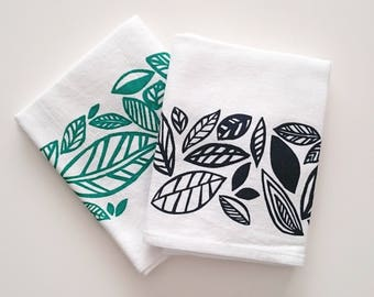 100% Cotton Tea Towel - Leaves Pattern - Mother's day gift