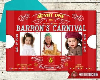 Carnival Ticket Birthday Photo Invitation   Carnival Birthday   Circus, Ticket, Carnival, Party, Card, Gallery, Print file, invite, Digital