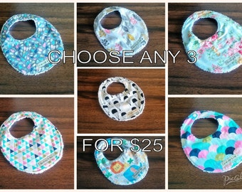 Choose any 3 baby bibs, Baby girl bibs, Baby boy bibs, 100% cotton, Towelling, Baby gift, baby shower gift