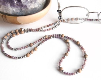 Purple Glasses Lanyard, Purple Aventurine, Grain Stone, Glasses Holder, Eyeglass Lanyard, Beaded Lanyard, Glasses Chain, Glasses Necklace