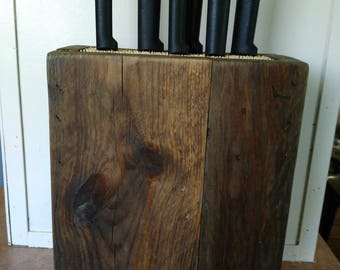 Reclaimed wood knife block / pallet knife block with bamboo