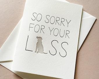 Letterpress Pet Sympathy card- Dog Sympathy