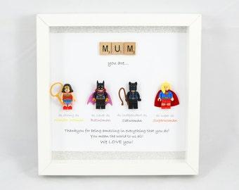 Personalised LEGO Style Superhero Frame - Catwoman, Batwoman, Wonderwoman, Superwoman - Valentines Day gift - mum- mummy- wife