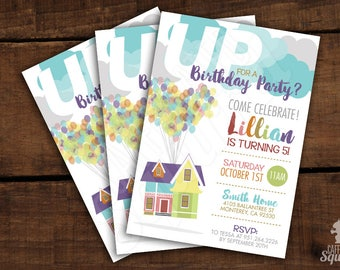 Up for a Birthday Party? - Invitations -  Birthday Party, House, Teal, Celebrate, Heart, Balloons, Kids Birthday, Movie, Flight, Fly away