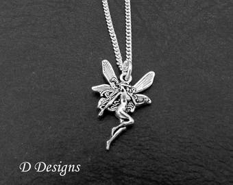 Fairy necklace etsy fairy necklace fairy pendant fantasy necklace fairy charm jewellery sterling silver necklace aloadofball Gallery