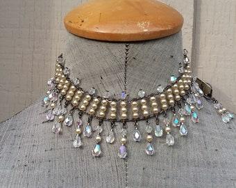 Cream Ivory Off White Pearl & Rainbow Crystal AB Fringe Choker Necklace Earrings Set Wedding Bride Bridal Jewelry Jewellery Aurora Borealis