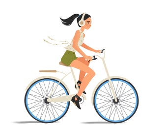 Girl Riding a Bike Print