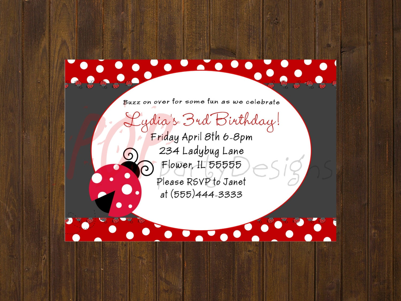 Ladybug Birthday Invitation Printable Ladybug Birthday